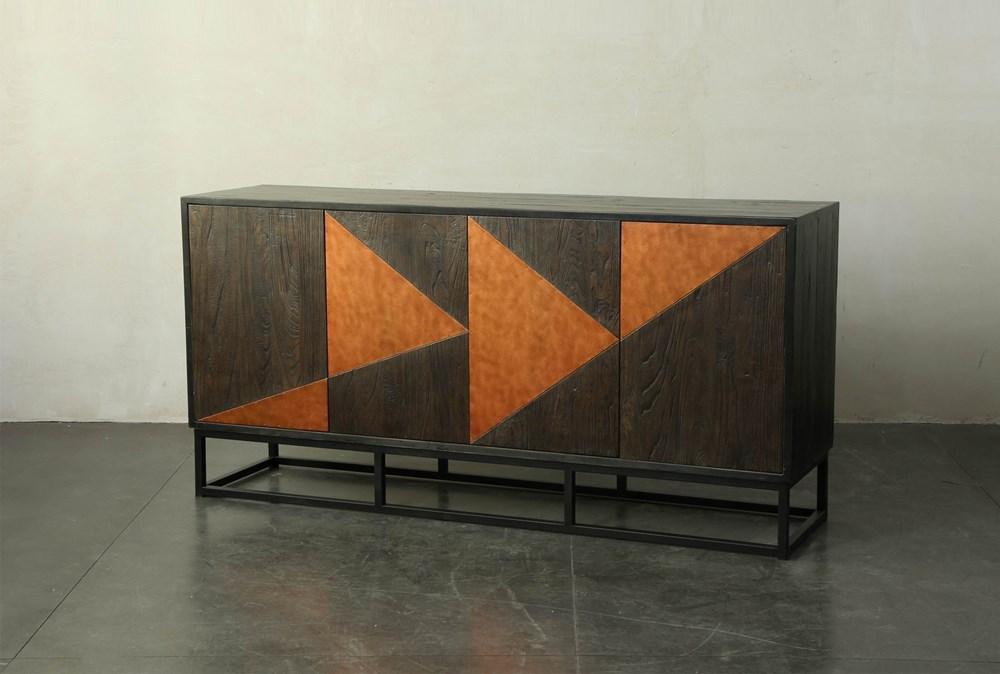 "Dark Brown + Copper Inlay 71"" Sideboard"