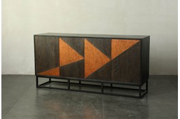"Dark Brown + Copper Inlay 71"" Sideboard"