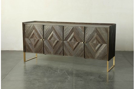 Dark Brown Diamond Pattern Sideboard