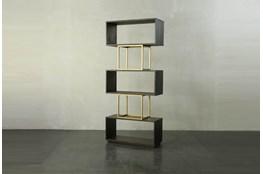 Tall Dark Brown + Brass Open Bookcase