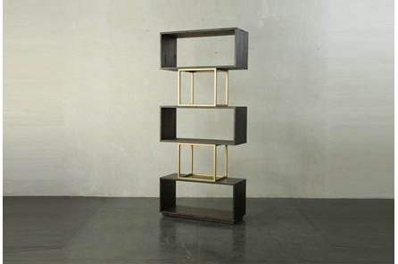 Tall Dark Brown + Brass Open Bookcase - Main