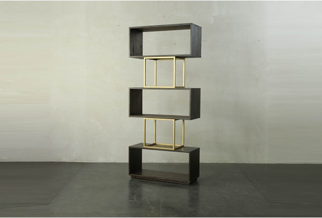 Tall Dark Brown + Brass Open Bookcase - 360