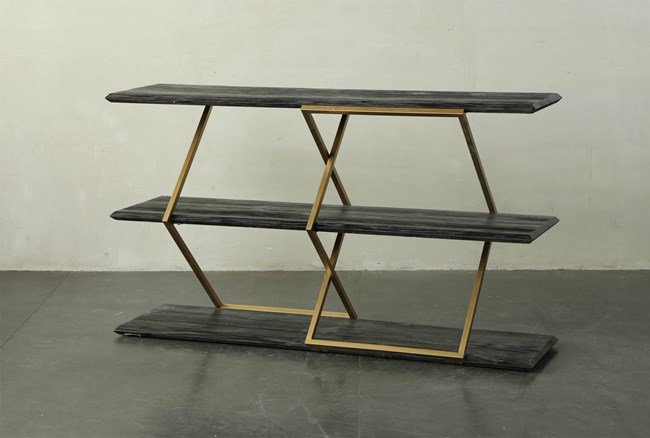 Dark Brown + Brass Metal Console  - 360