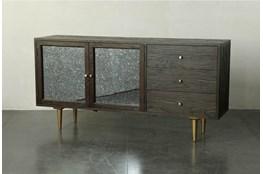 Dark Brown And Gold Anitque Mirror Sideboard