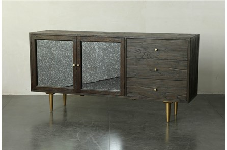 Dark Brown And Gold Anitque Mirror Sideboard