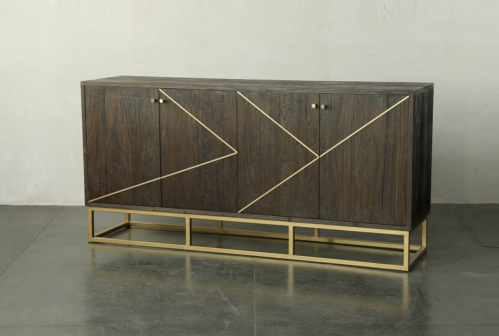 "Dark Brown And Brass Inlay 71"" Sideboard"