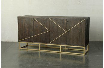 Dark Brown And Brass Inlay Sideboard