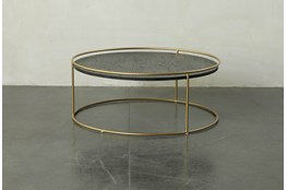 Round dark Wood + Brass Gold Coffee Table
