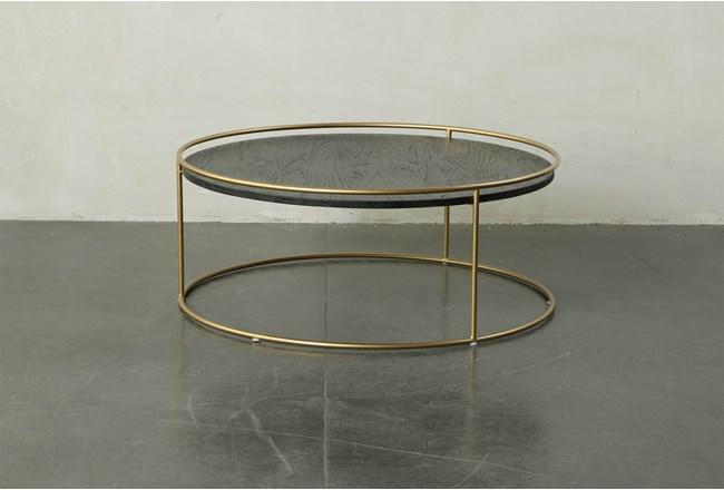 Round dark Wood + Brass Gold Coffee Table - 360
