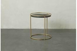 Round Dark Wood + Brass Gold End Table