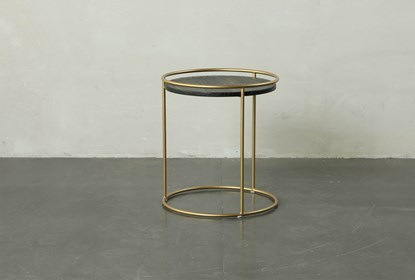 Round Dark Wood Br Gold End Table