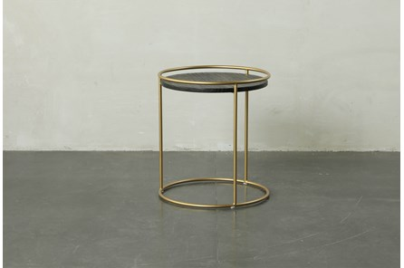 Round Dark Wood + Brass Gold End Table