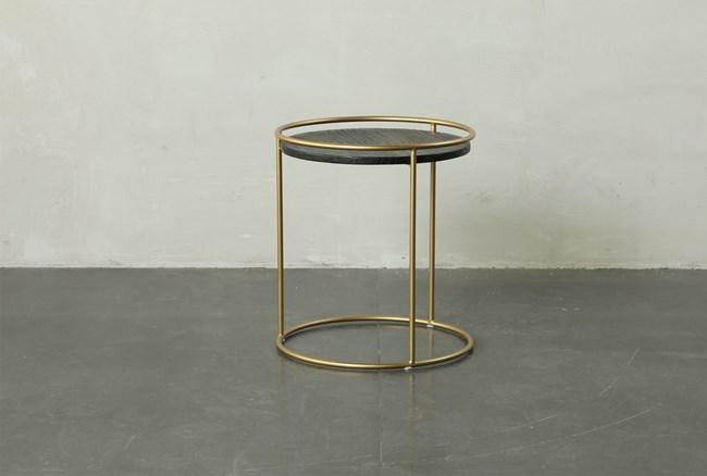 Round Dark Wood + Brass Gold End Table - 360