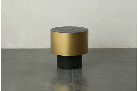 Black Round End Table With Gold Finish