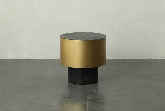 Black Round End Table With Gold Finish - 360