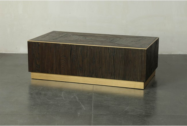 Dark Brown And Gold Rectangle Coffee Table - 360
