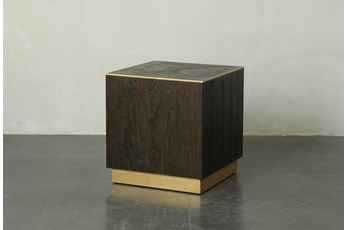Dark Brown And Gold Square End Table