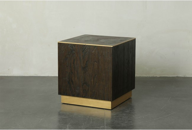 Dark Brown And Gold Square End Table - 360