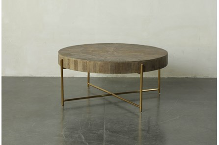 Round Natural Wood And Gold Coffee Table