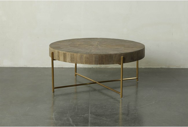 Round Natural Wood And Gold Coffee Table - 360