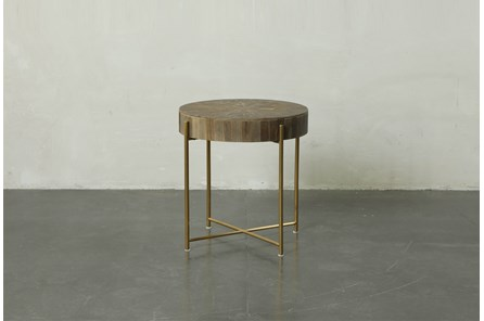 Round Natural Wood And Gold End Table