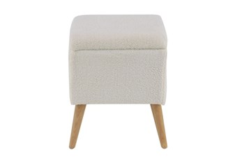 Cream Upholstered Storage Stool