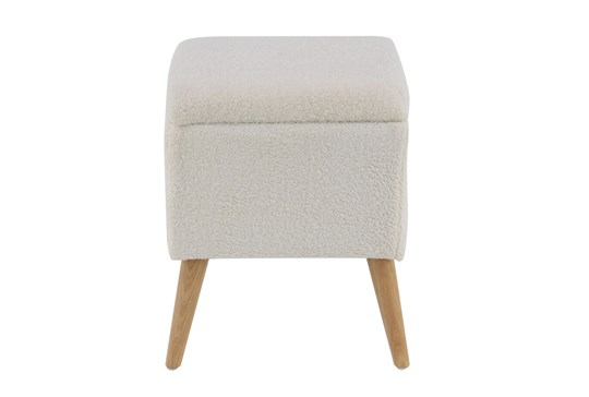 Cream Upholstered Storage Stool