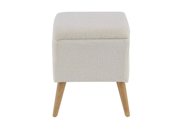 Cream Upholstered Storage Stool  - 360