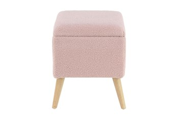 Pink Upholstered Storage Stool