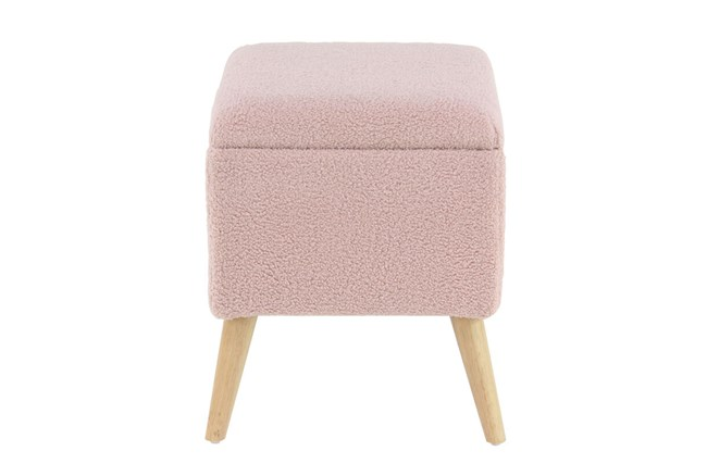 Pink Upholstered Storage Stool  - 360