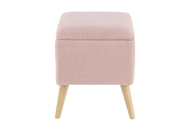 Pink Upholstered Storage Stool  - 360