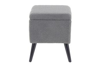 Grey Upholstered Storage Stool