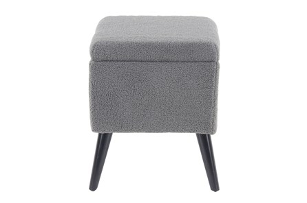 Grey Upholstered Storage Stool