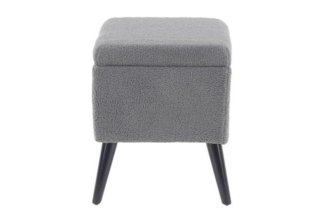 Grey Upholstered Storage Stool  - 360