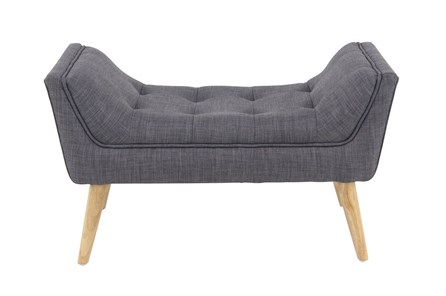 Dark Grey Bench With Wood Legs