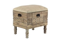 Hand Carved Cream Upholstered Storage Stool