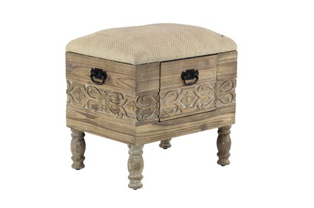 Hand Carved Cream Upholstered Storage Stool - Main