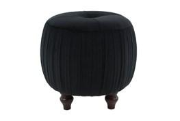 Small Round Black Velvet Ottoman