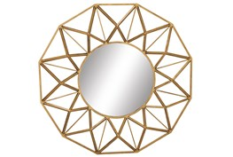 Wall Mirror-Round Gold Star 34X34