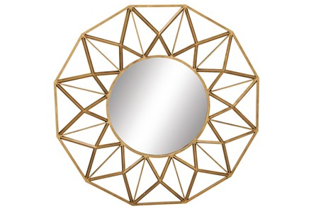 Wall Mirror-Round Gold Star 34X34 - Main
