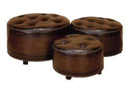 Wood + Leather Ottoman Set Of 3