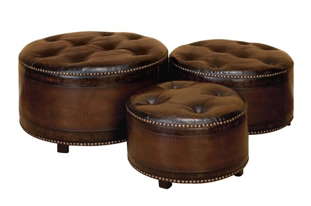 Wood + Leather Ottoman Set Of 3 - Main