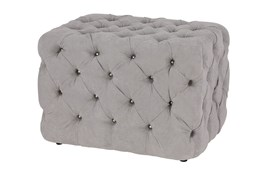 All Over Tufted Grey Square Ottoman