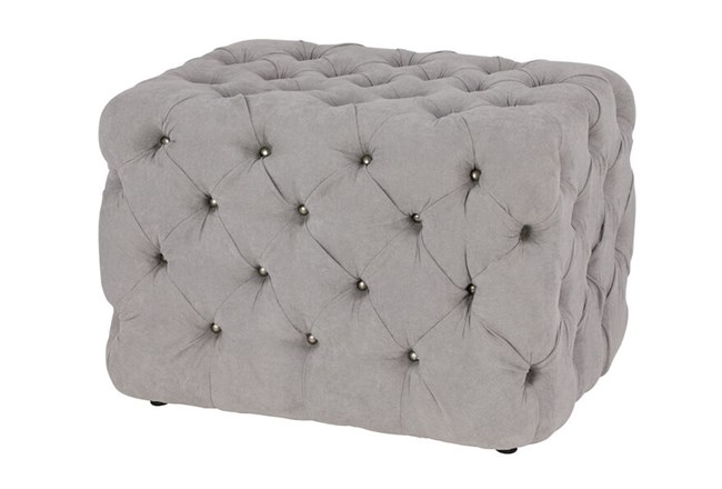 All Over Tufted Grey Square Ottoman  - 360
