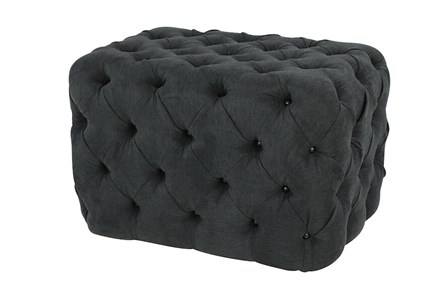 All Over Tufted Dark Grey Square Ottoman