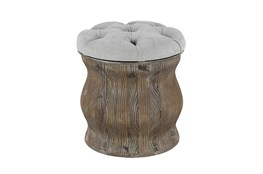 Distressed Wood + Cream Upholstered Stool