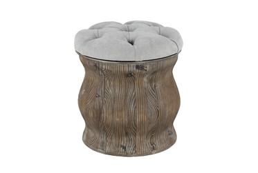 Distressed Wood + Cream Upholstered Stool