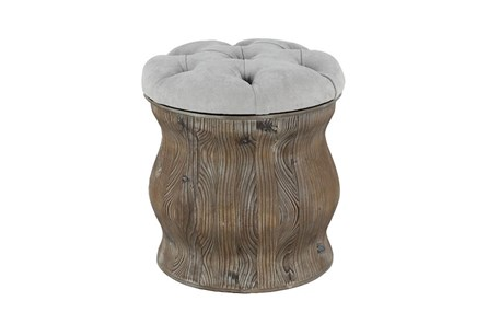 Distressed Wood + Cream Upholstered Stool - Main