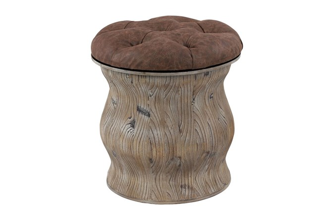 Distressed Wood + Brown Upholstered Stool  - 360