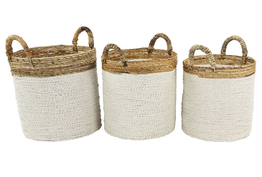 White + Tan Wicker Set Of 3 Basket
